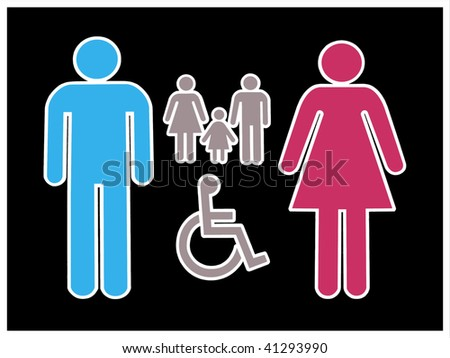 Isolated male and female sign