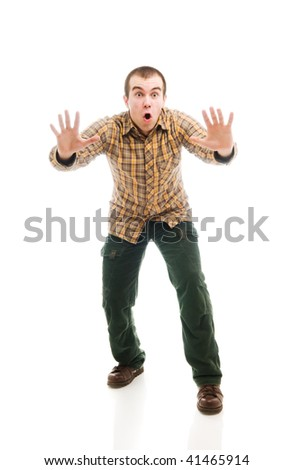 Isolated man gesturing stop sign