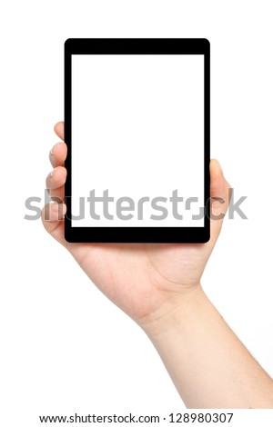 isolated man hand holding a tablet computer with isolated screen