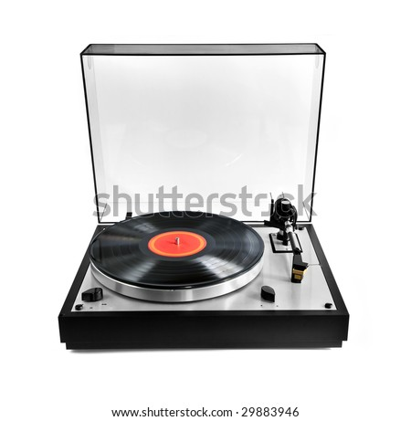 Isolated manual record player with spinning vinyl lp