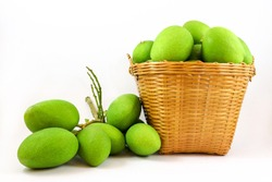 isolated many green mangoes in the basket on white background