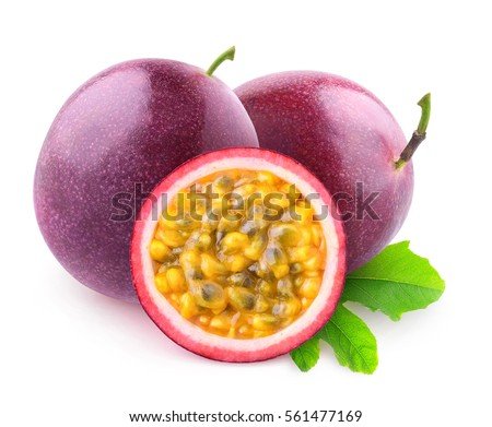 Isolated maracuya. Two whole passion fruits and a half isolated on white background with clipping path
