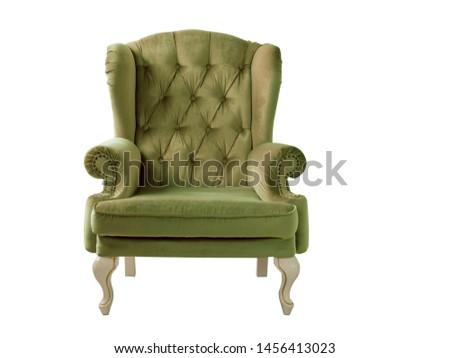 Isolated marsh armchair. Vintage armchair. Insulated furniture. Khaki chair. Olive velvet armchair #1456413023
