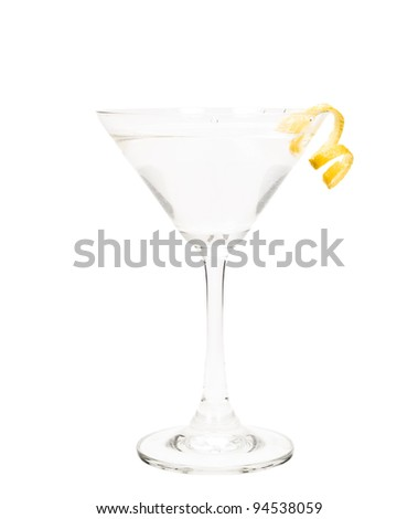 isolated martini on a white background garnished with a lemon twist