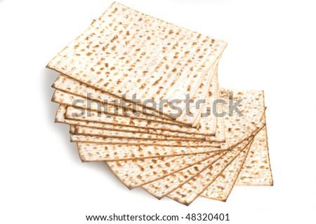 isolated matzos - jewish passover bread matzo
