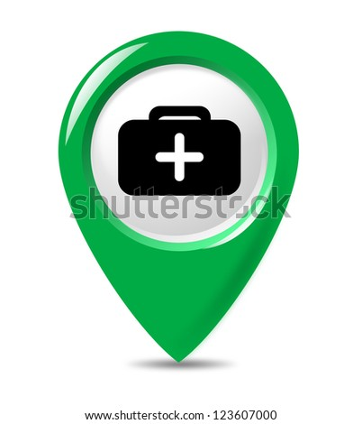 Isolated medical sign pointer on white background.