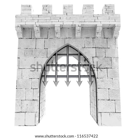 isolated medieval gate with steel lattice opening illustration