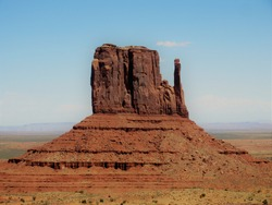 Isolated mesa in the Monument Valley Navajo Tribal Park, Utah desert