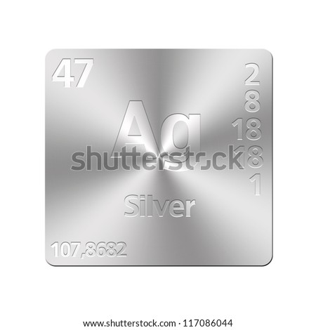 Isolated metal button with periodic table, Silver.