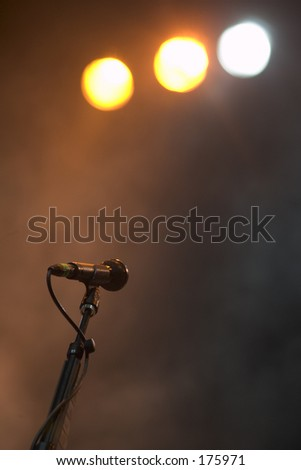 Isolated Microphone on Stage Before Performance