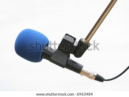 Isolated microphone with blue sponge