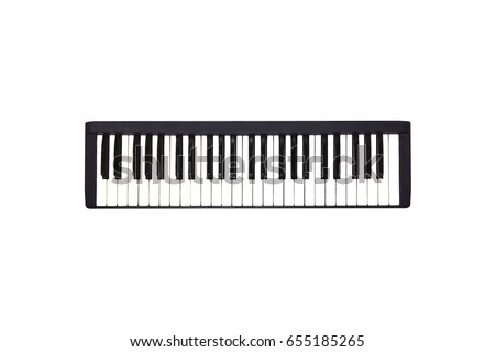 Isolated Mini Piano Keyboard Music instrumental for Computer midi song writer on white background. #655185265