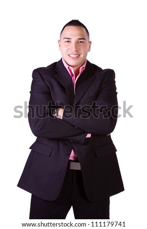Isolated Minority Businessman with his Arms Crossed