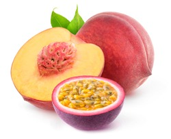Isolated mixed fruits. Cut peach and passion fruit isolated on white background with clipping path