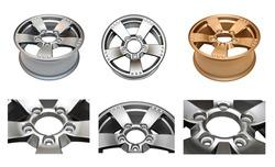 Isolated modern aluminum alloy wheels set on a white background