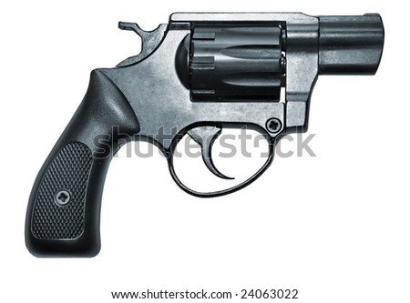 isolated modern black firearm revolver pistole gun