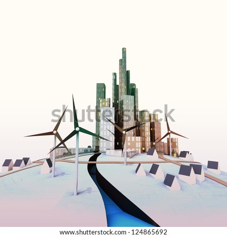 isolated modern cityscape with windmills and river illustration - stock photo