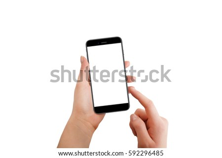 Isolated modern phone in female hand. Female touching screen with finger #592296485