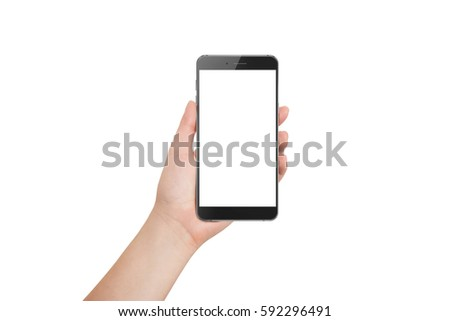 Isolated modern phone in hand #592296491