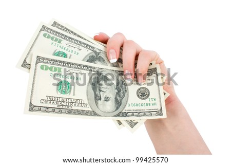 isolated money in a giving hand on a white background