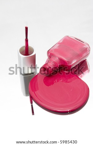 Isolated Nail Polish Spilling on a Mirror - stock photo