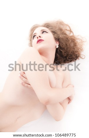 Isolated naked woman on white background
