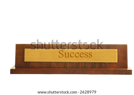 "Isolated nameplate on white with ""success"" text"
