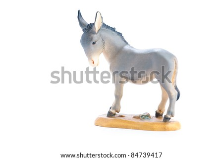 isolated nativity scene; donkey