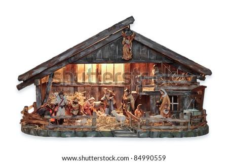 isolated nativity scene in a wooden creche
