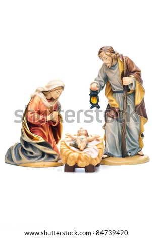 isolated nativity scene; Jesus Christ, Mary and Josef