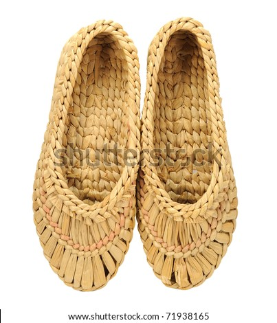 isolated natural bast shoes