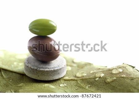 isolated natural pills metaphor with leaf