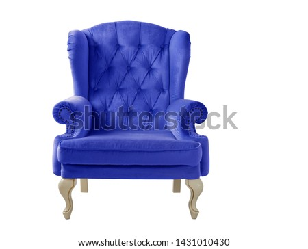 Isolated navy blue armchair. Vintage velvet dark blue chair on a white background. Insulated furniture #1431010430