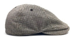 Isolated Newsboy Cap. Retro wool driver cap on a white background.