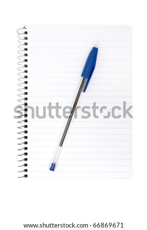 isolated notebook with a pen on a white background