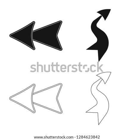 Isolated object of element and arrow sign. Set of element and direction bitmap icon for stock. #1284623842