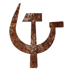 Isolated objects: crossed metal hammer and sickle, old rusty symbol of communism, on white background