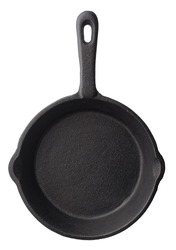 Isolated objects: empty black cast iron frying pan, isolated on white background