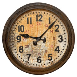 Isolated objects: old round wall clock, shabby and rusty, on white background