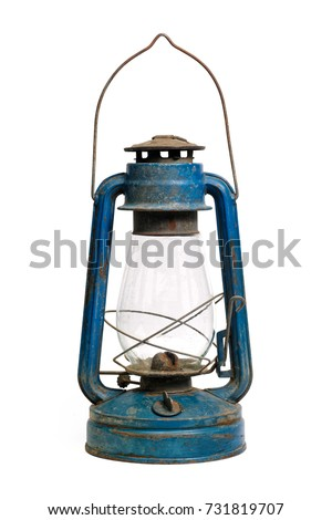 Isolated objects: very old shabby and rusty blue kerosene lamp, on white background