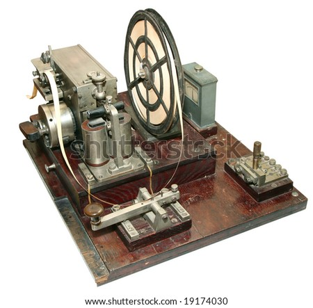 isolated obsolete vintage morse telegraph machine on white background