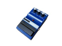 Isolated octave stompbox electric guitar effect for studio and stage performed on white background with clipping path. side view photo. music concept.