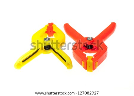 Isolated of colorful clips on the white background