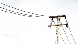 Isolated of Electric Pole Power Lines And Wires
