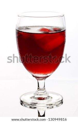 Isolated of glass with clear reflection on white background contain with grape juice on the ice