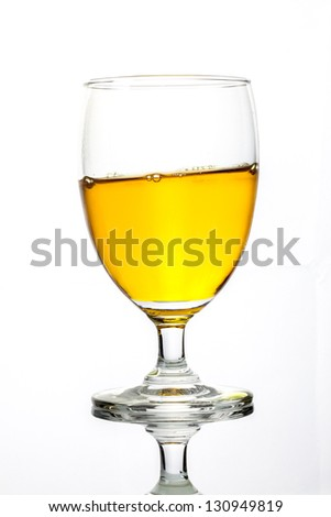 Isolated of glass with clear reflection on white background contain with slope position drink