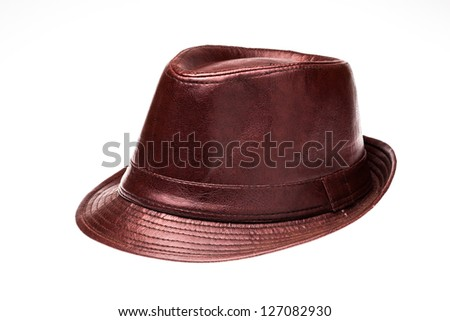 Isolated of leather hat against white background
