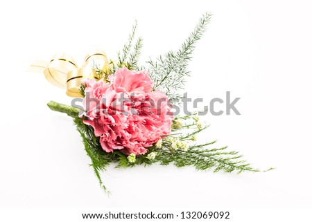 Isolated of pink bouquet against white background
