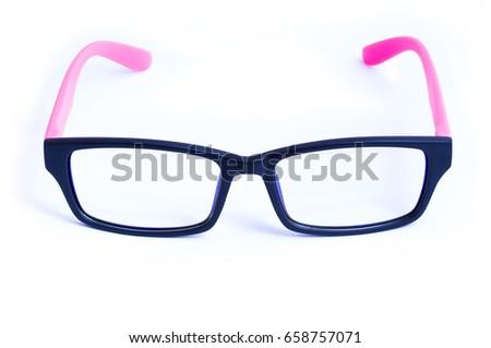 5aac56c5826 Isolated of pink eyeglasses on white background