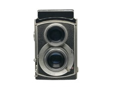 Isolated of professional retro, old, vintage twin lens camera for childhood memory and hipster  on white background